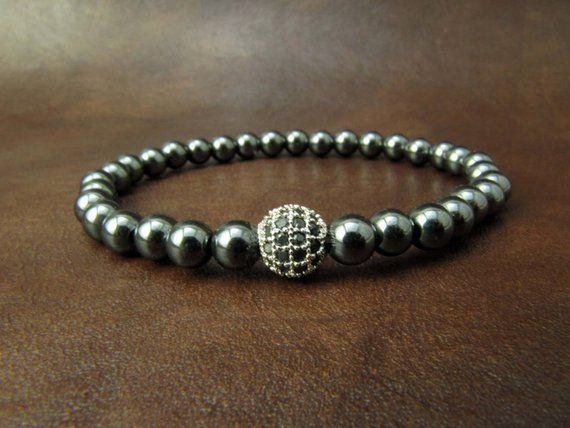 Silver Hematite Bracelet Swarovski Bracelet Diamond Ball Bead Bracelet Mens Bracelet Valentine Bracelets For Men Swarovski Bracelet Mens Beaded Bracelets