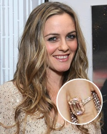 Alicia Silverstone -- an emerald cut in rose gold.