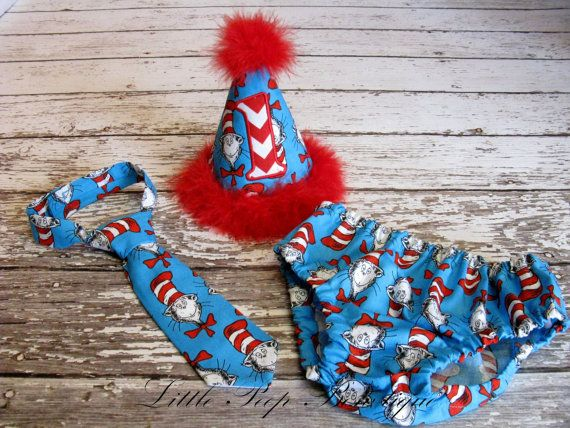 Cake Smash set Cat In The Hat Birthday hat tie diaper cover First Birthday dr seuss 1st birthday photography prop personalized red chevron