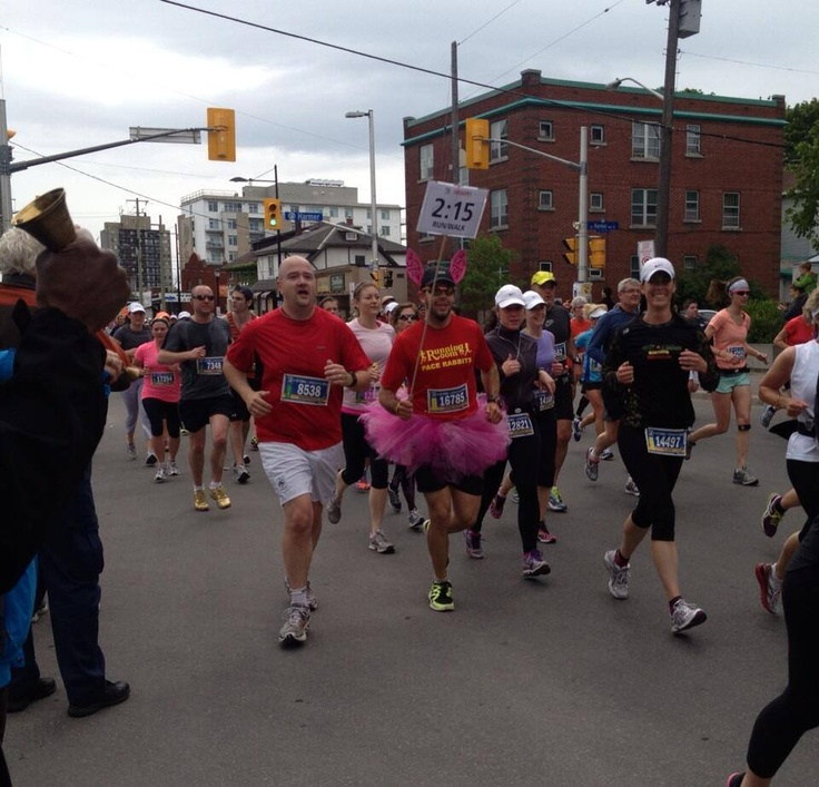 How could we not pin this image from the half marathon that was tweeted during the race by a spectator - what a pace bunny! Nice job by all participants in all races during 2013 Tamarack Ottawa Race Weekend!