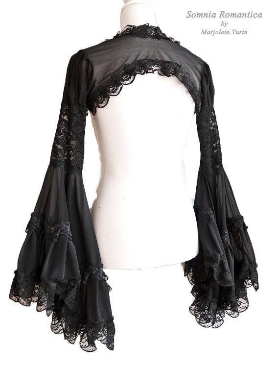 Shrug Angelic size S-M black victorian by SomniaRomantica on Etsy
