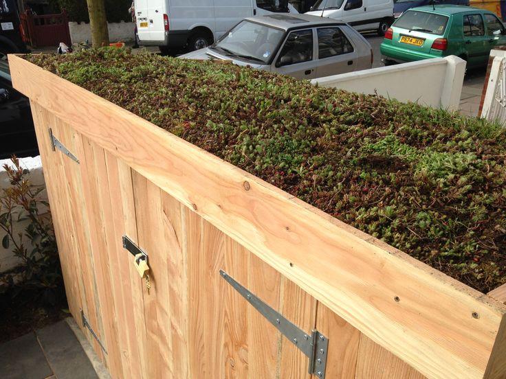 Sedum green roof on a Classic bike shed
