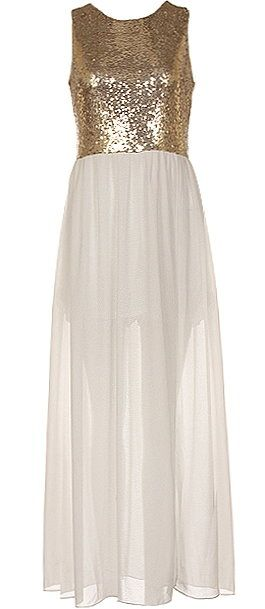 Famous Starlet Dress: Features a glittering gold sequin bodice, centered rear zip closure, elegant ivory chiffon lower portion with mini liner for no show-through, and sexy side slits to finish.