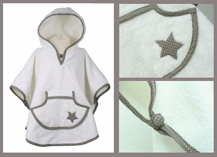 Badeponcho mit Stern - weiß/ taupe-farbener Rand  von Blausberg Baby auf DaWanda.com
