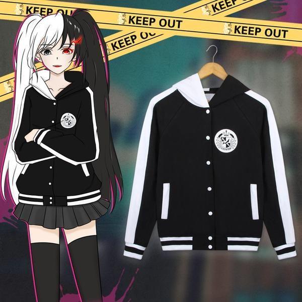 Danganronpa MonoKuma B/&W Bear Hoodie Zipper SweatShirt Cosplay Coat Jacket Gift