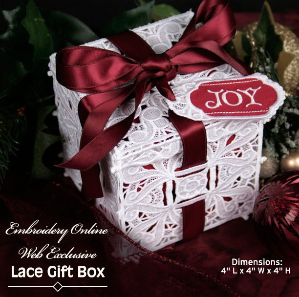Stand Alone Embroidery Designs : Embroidered stand alone lace gift box embroidery