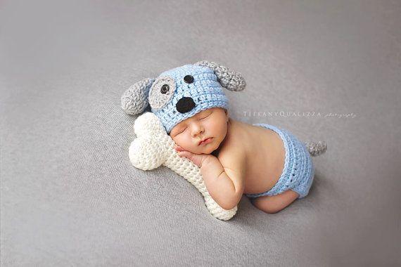 Cachorro recién nacido sombrero bebé niño por emmascozyattic