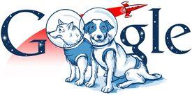 Belka en Strelka - 19 augustus 2010 Op Google Rusland werd herdacht met onderstaand logo dat de honden Belka en Strelka met succes in een baan om de aarde kwamen. De honden werden gelanceerd met de Spoetnik 5 op 19 augustus 1960. De twee honden keerden later heelhuids terug op aarde.