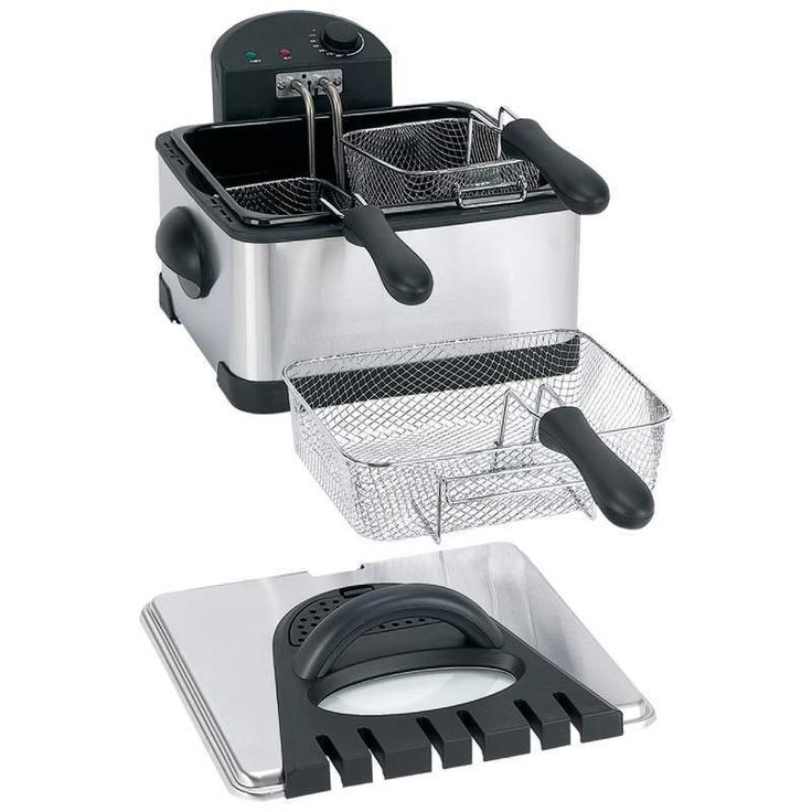 Electric Deep Fryer 4Qt Stainless Steel 1 Large 2 Small Baskets free shipping #Maxam