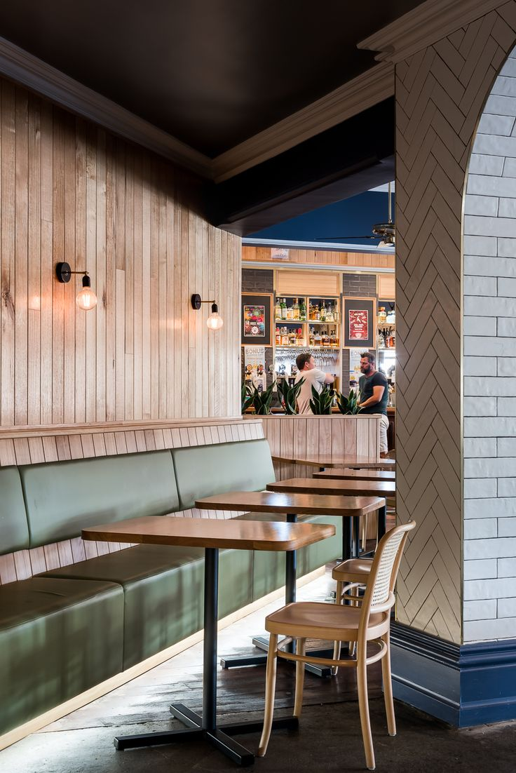 Hospitality Design by Benson Studio. Restaurant at the Historic Rose Hotel in Western Australia. Leather banquette seating and bar design.