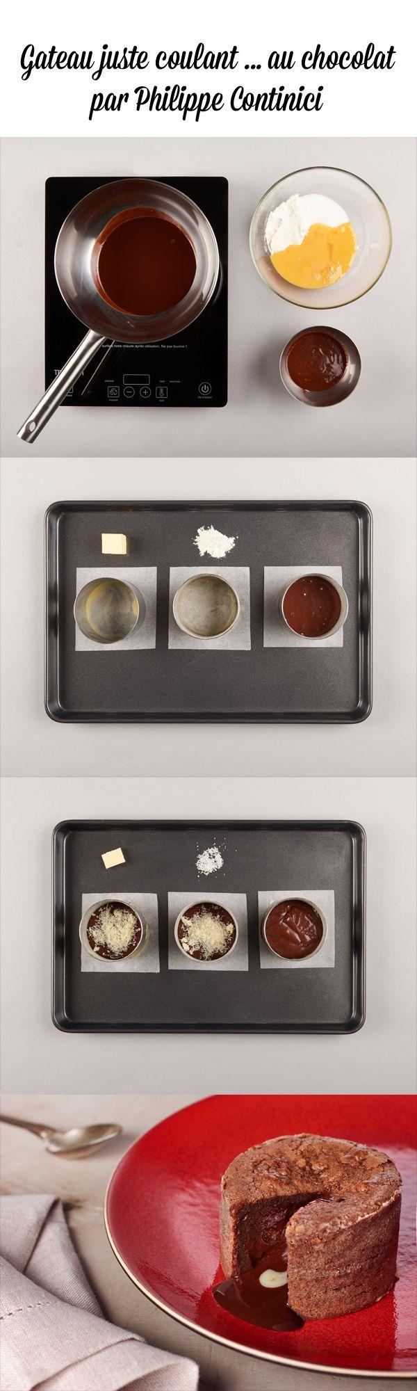 Découvrez la recette du gâteau juste coulant au chocolat de Philippe Conticini…