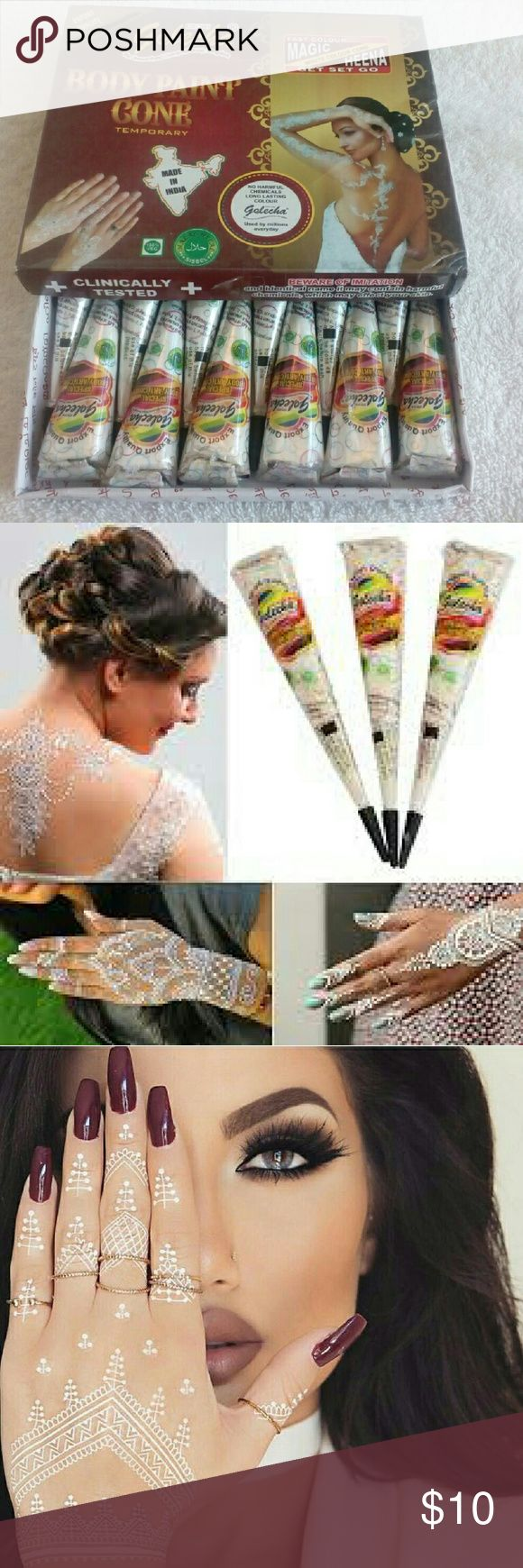 3 X25gm white henna body art tatoo ink You will receive 3 White Henna cones 100% authentic pure fresh natural henna paste.No chemicals/ppd/Ammonia  1.Before to apply clean your body parts well. 2.Take the cone and cut the tip small size as required for proper thickness of lines. 3.Draw designs by your hand in required body parts like as a pen or just from .25 inch from the area. 4.If you need perfect designs you can use stencils  5.remove the dried henna. Note: white Henna used for…