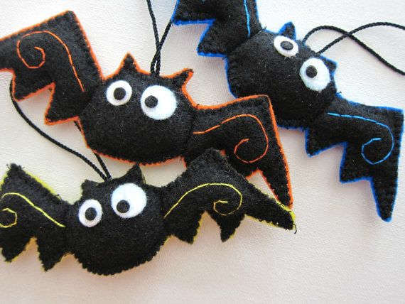 3pcs Halloween BIG EYES BATS Felt Ornaments by TheDestashBucket