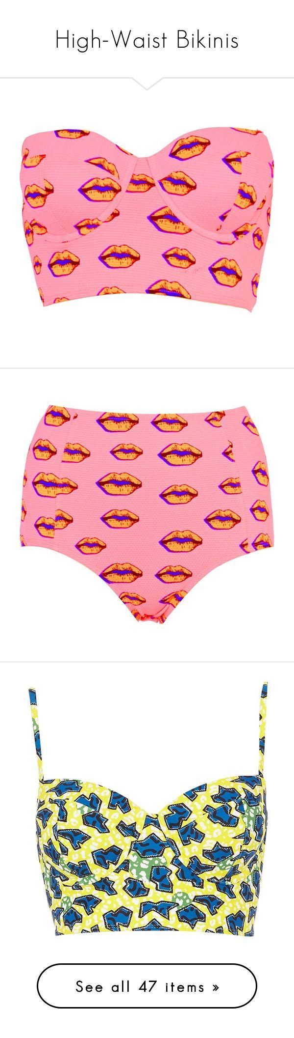 """High-Waist Bikinis"" by mindlessforeva on Polyvore featuring tops, shirts, crop tops, swimwear, sale, river island, bikinis, bikini bottoms, swimsuits and bathing suits"