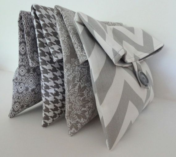 I found this pinned by someone I don't know- and my friend Lora makes them! Gray Bridesmaid Clutches Set of 4 Bags - Chevron, Houndstooth, Floral Wedding Party Gift - Maid of Honor - Size Medium