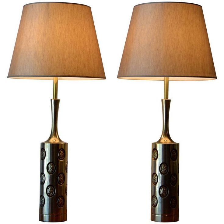 Large pair of brass embossed table lamps by laurel mid century modern