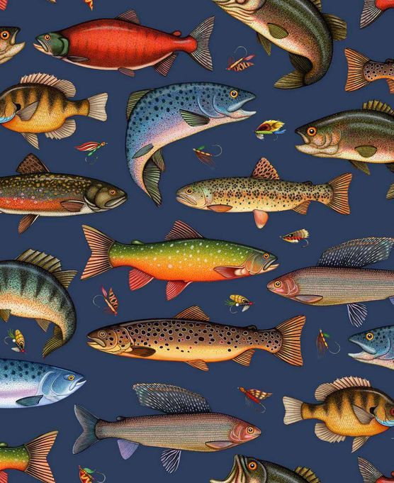 Quilt cotton fish and lures navy crafts pinterest for Fish fabric for quilting
