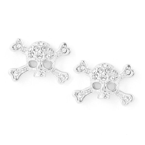 Vivienne Westwood Diamante Skull Stud Earrings ($87) ❤ liked on Polyvore featuring jewelry, earrings, skull jewellery, swarovski crystal stud earrings, skull earrings, stud earring set and clear crystal earrings