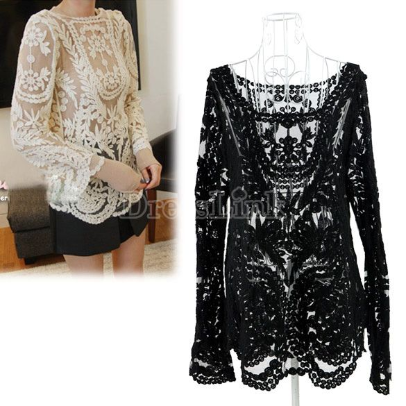 Semi Sexy Sheer Sleeve Embroidery Floral Lace Crochet Tee T-Shirt Top T shirt-Tees / T-shirt-Shop DRESSLINK.COM is an online shopping store offers cheap women clothes and baby clothes