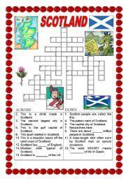 English Worksheets: Scotland - crossword