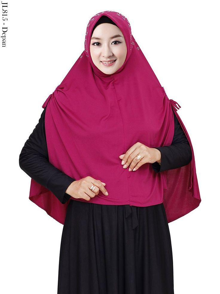 Jual jilbab belah lengan jersey ceruti payet swarovski GSJL815