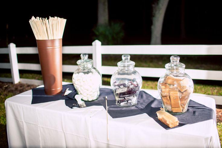 love this cozy idea for a little extra wedding reception fun: s'mores bar!!