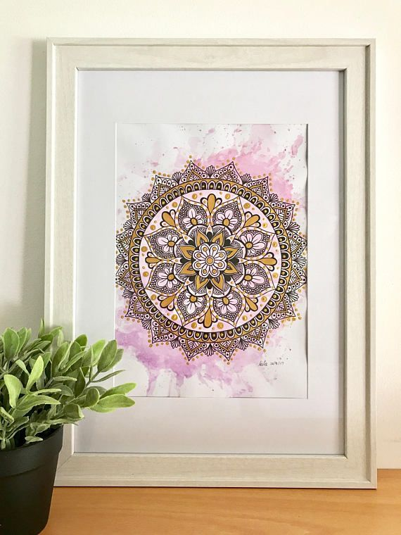 Gold & Pink Mandala Print - - A3 size 42cm W x 29.7cm L 16.5 x 11.7 inches - - **FRAME NOT INCLUDED** - - This is a print, copied from my original drawing onto 200gsm A3 card. It is shipped in a mailing tube. - - The gold paint on this print may vary due to photo copying.