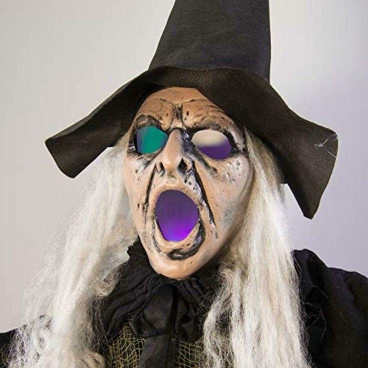 6 Feet Witch Halloween Decorations Glowing Eyes W/ Spooky