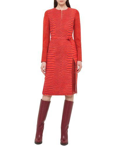 Akris+Mixed+Print+Long+Sleeve+Dress+Red+|+Clothing