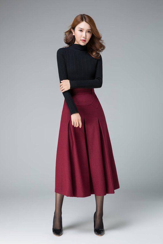 3f255c2c367 romantic skirt wine red skirt evening skirt wool skirt