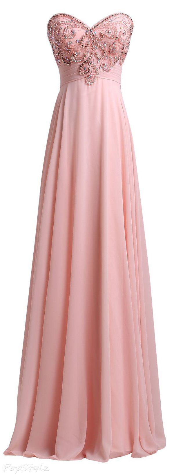 SeasonMall Chiffon A Line Sweetheart Evening Dress