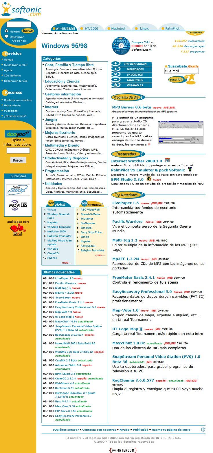 Softonic website in 2000