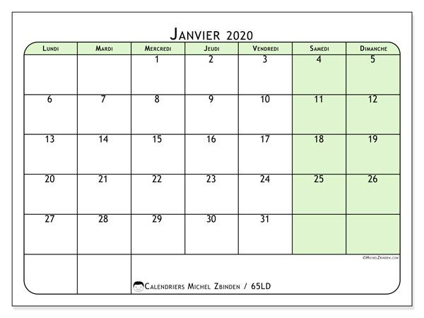 Calendrier Janvier 2020.Calendrier Janvier 2020 65ld Calendrier Janvier