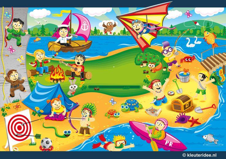 Praatplaat spelen in de zomer voor kleuters, kleuteridee.nl , thema zomer, summer theme preschool free printable