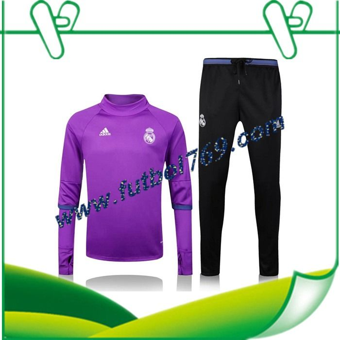 Tienda Sudaderas Del Real Madrid Collar Púrpura + Pantalones Negro 2016 2017 Conjunto Oficial