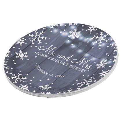 String lights snowflakes mr and mrs wedding paper plate - light gifts template style unique special diy