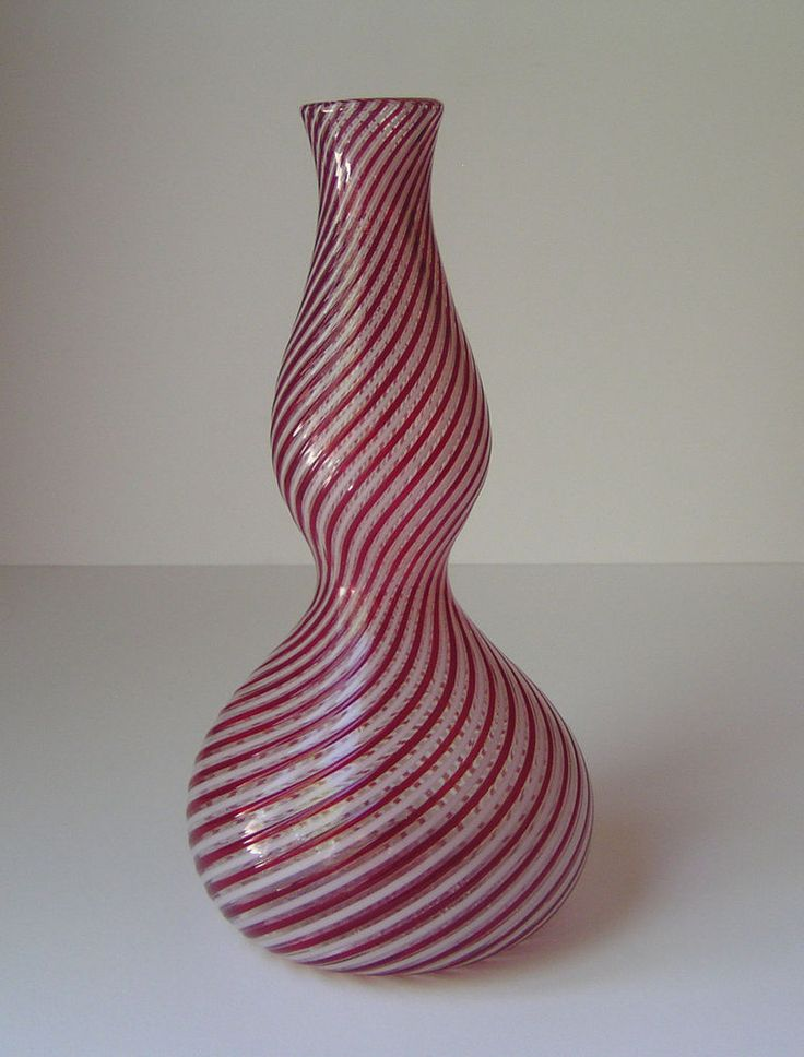 Murano Venetian Italian Latticino Mid Century Modern Decanter / Vase