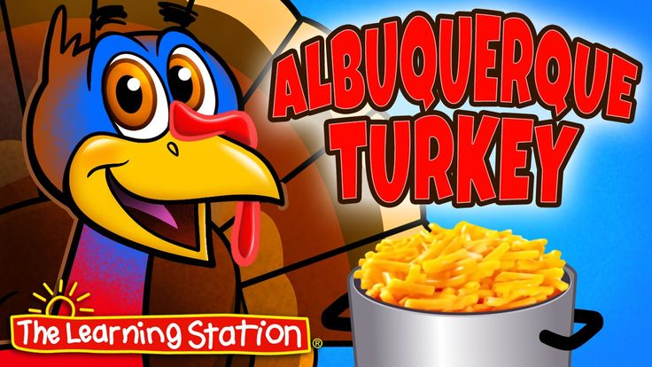 """View for FREE: Thanksgiving song for children animated music video """"Albuquerque Turkey"""". Your children will love this popular Thanksgiving song. This song is great for preschool, kindergarten and lower elementary age children. It's also a hit performed at school assemblies or family nights."""