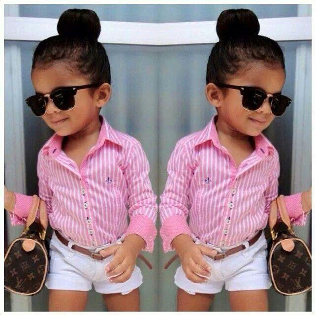 Pink shirt white shorts Louis Vuitton purse sunglasses♥so cute