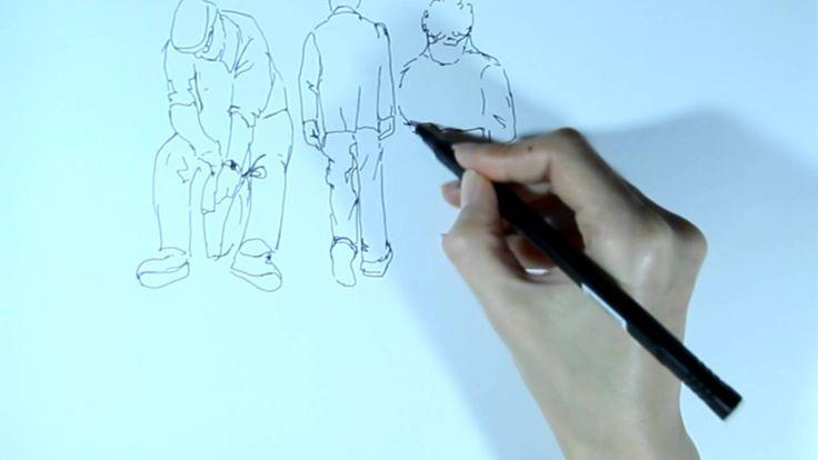 Рисунок линером. Как рисовать линером людей.