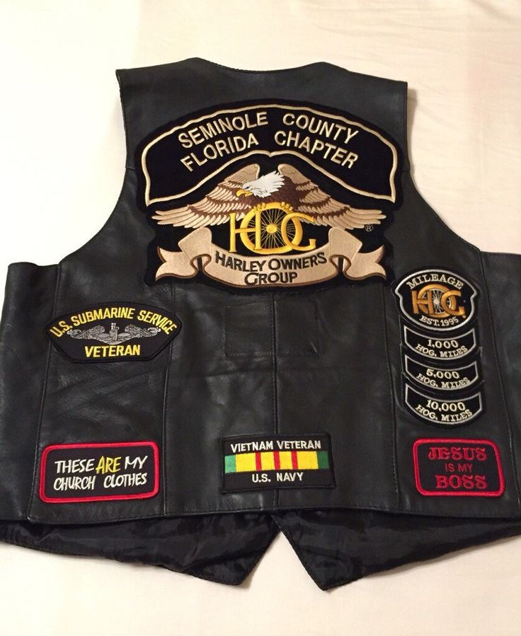 Leather Motorcycle Vest w/ Harley Patches HOG Harely Davidson by TheJewelryGrab on Etsy https://www.etsy.com/listing/261925367/leather-motorcycle-vest-w-harley-patches