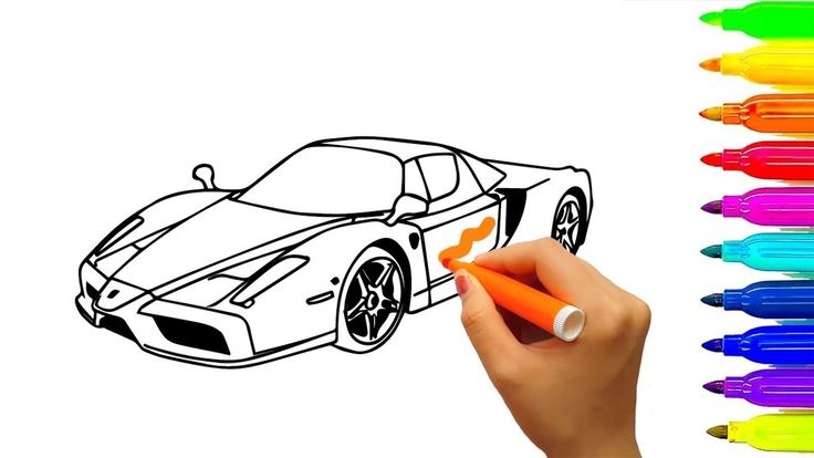 Learn colors with drawing and coloring pages car and truck for kids, chi...