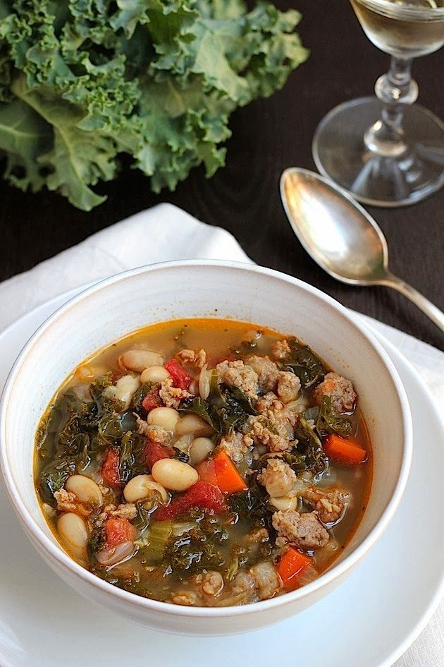 Kale, white bean and spicy turkey sausage soup. Can be vegan by ...