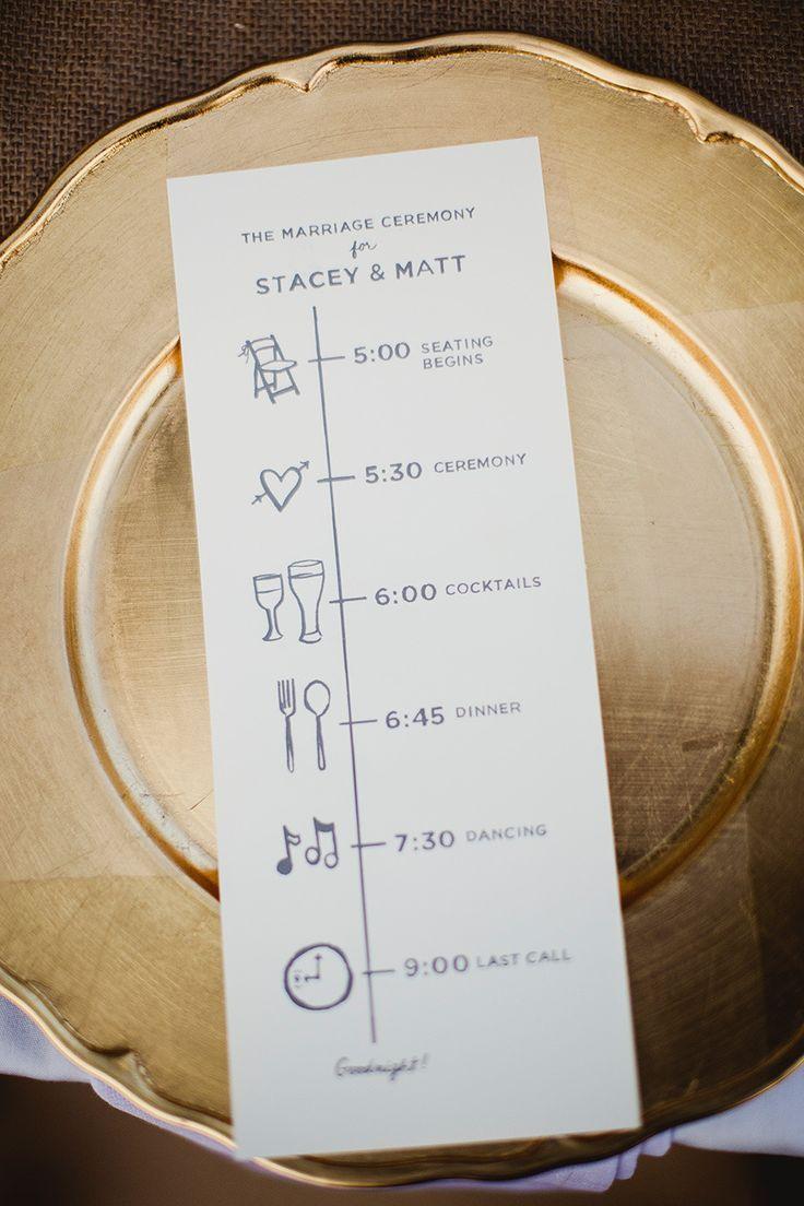 Un programa de bodas es muy útil para tus invitados, de esta manera podrán saber la hora precisa de todos los momentos importantes. ¡Ponte creativa los diseños! #Wedding #Ideas