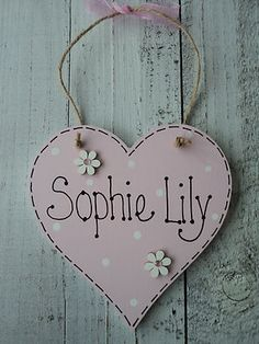 Details about Handmade Personalised Heart Name Plaque Keepsake Gift Baby  Girl Boy Christening