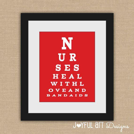 Nurse Eye Chart PRINTABLE.  Nurses Heal With Love and Bandaids. Nurse Appreciation.  Doctor's Office Decor. School Nurse Wall Art. $8.00