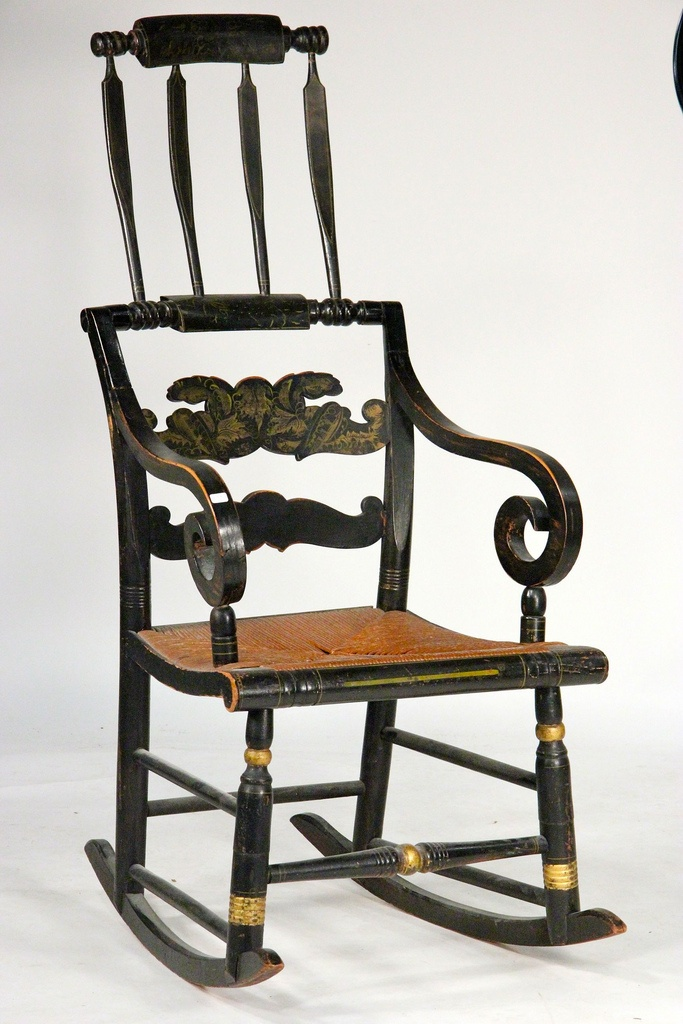 American Federal Paint-Decorated & Stencilled Fancy Rocking Chair - Circa  1820.