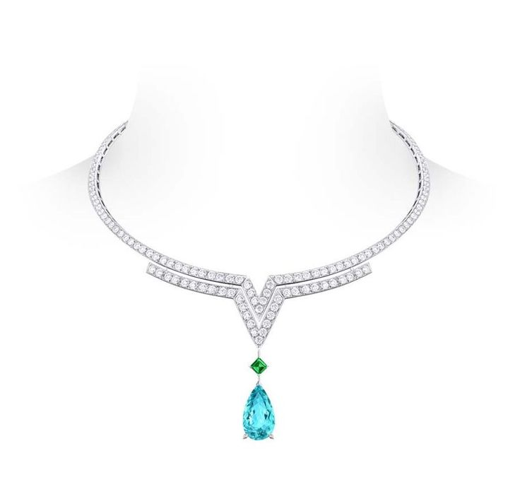 Louis Vuitton Acte V Apotheosis necklace featuring diamonds, an emerald and a pear shaped tourmaline. (=)
