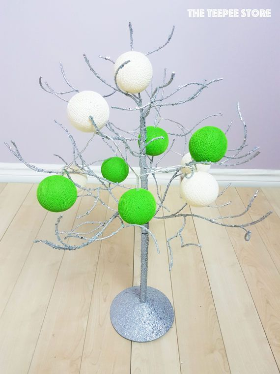 Lime Green / Ivory 10 or 12 Cotton Balls String Light  String