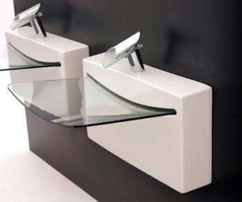 Art Ceram's Crystal Wall bathroom sink gives you a definite space age feel! not cheap though...